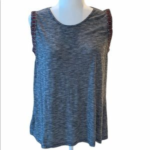 W5 Anthropology Gray Aztec Boho Tank Top Large